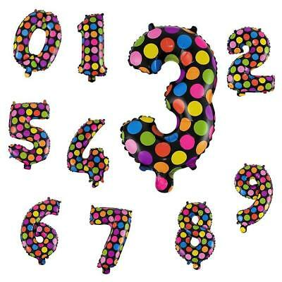 """Self Inflating 16"""" INCH Foil Polka Dot Number BALLOONS Happy Birthday Ballons"""