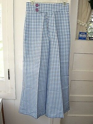 VINTAGE 1970s BLUE WHITE GINGHAM HIPPIE WIDE LEG BELL BOTTOM PALAZZO PANTS