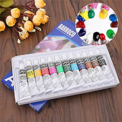 12Color 6ml Artist Oil Painting Acrylic Paint Draw Pigment With Brush