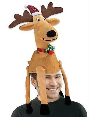 Reindeer Christmas Hat Adult Funny 3D Holiday Costume Accessory