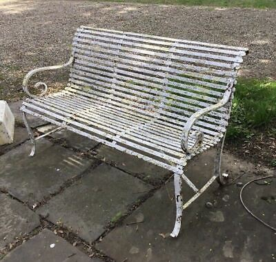 Vintage Antique Victorian Wrought Iron Strap-Work Garden Bench
