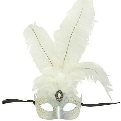 White And Silver Princess Feathered Venetian Masquerade Mask