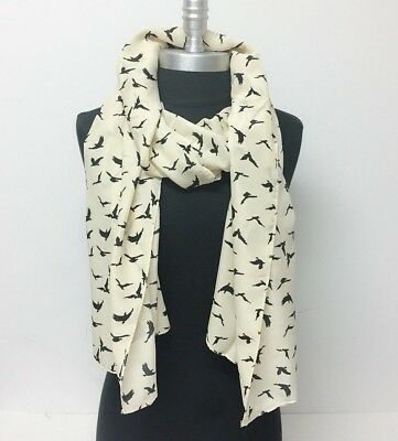 NEW Silky Chiffon Scarf Birds Print Black & Beige Long Soft Wrap Shawl