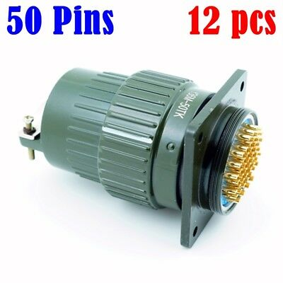 US Tracking 12pcs  50P 50 Pins Military Electrical Connector Bayonet HK Stock