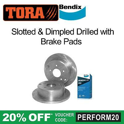 2 Rear Slotted+Dimpled Disc Rotors + Bendix Brake Pads Commodore VT VX VU VY VZ