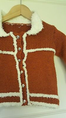 bd78632f4 CHILDRENS BURNT ORANGE Hand Knitted Cardigan Jumper Age 2-3 Years ...