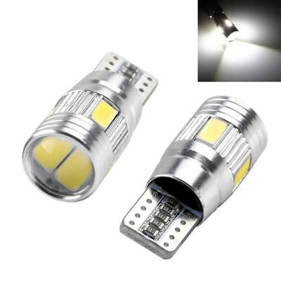 2 X White T10 LED Error Free Canbus 5630 6SMD Side Wedge Light Bulbs 501 194 W5W
