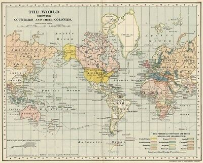 World Map: showing Colonial Possessions Authentic 1902 (Dated) Quite Interesting