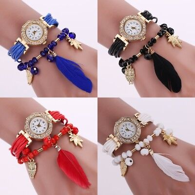 Fashion Women Watch Bracelet Crystal Feather Boho Weave Stainless Steel Watches
