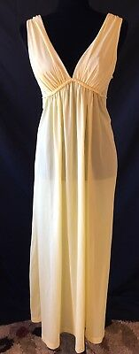 Val Mode Vintage Long Grecian Style Nightgown, Medium, Yellow, 70s, Sexy