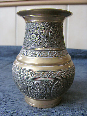 Vintage Antique Brass  Bronze Holy Water Offering Hindu Sitting Buddha Pot Vase