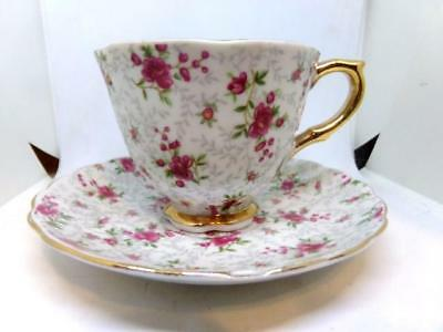 Vintage Tea Cup & Saucer Set - Original Hand Painted NAPCO Chintz Pattern