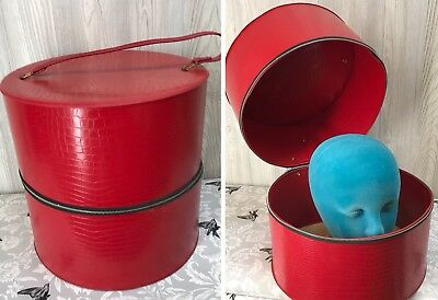 Vtg Red Vinyl WIG Mannequin Head CASE HAT BOX Travel Train Luggage Carry On Bag