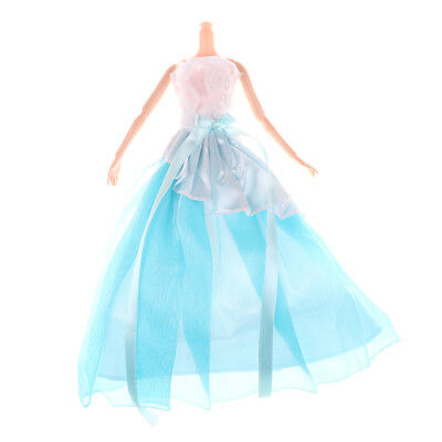 Handmade Blue Doll Dress For Barbie Doll Clothes Party Dress Doll Accessories JR
