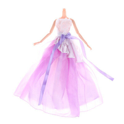 Handmade Purple Doll Dress For Barbie Doll Clothes Party Dress Doll Accessory JR
