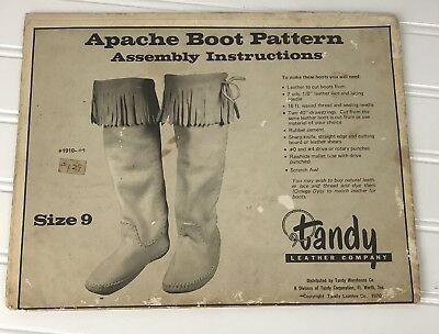 Vintage Tandy Leather APACHE INDIAN BOOT PATTERN uncut ADULT WOMAN SIZE 9 SHOE