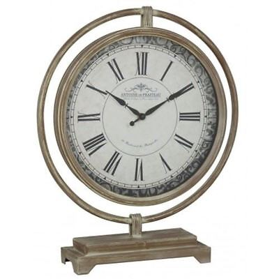 Metal Table Clock Antique Light Brown Vintage Style Mantel Clock