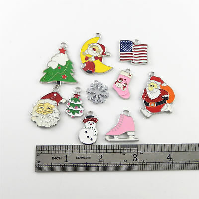 18pcs/lot Colorful Enamel Christmas Series Silver Alloy Jewelry Pendants Charms