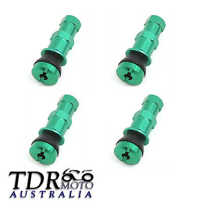 4x Green Wheel Tyre Tire Valve Stems with Air Dust Cover Screw Caps Car Truck