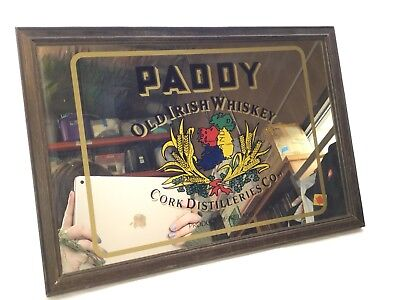 "Vintage Small ""Paddy Old Irish Whiskey"" Framed Mirror #80X320"
