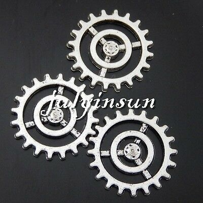 Antique Silver Alloy Hollow Gear Wheel Pendants Charms Crafts Findings 40x 50480