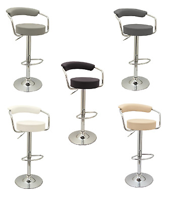 2x Casino Chrome & Gas Lift Swivel Faux Leather Kitchen Breakfast Bar Stool