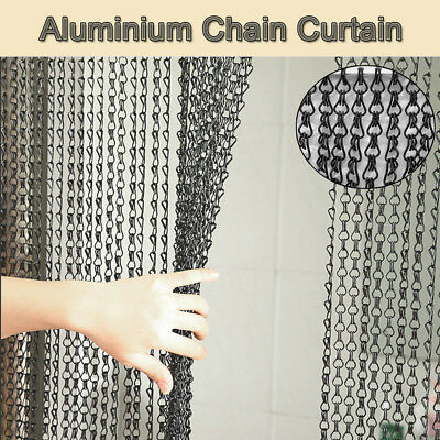 Fly Screen Aluminium Metal Chain Pest Blind Control Insect Bug Curtain Black