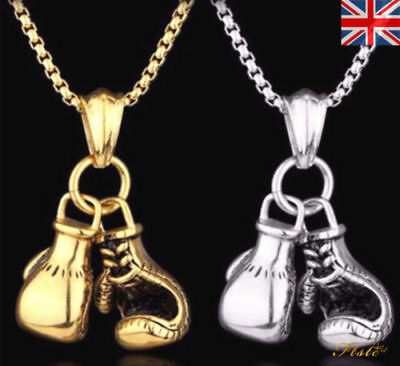 Stainless Steel Chain Boxing Glove Pendant Necklace Gold Silver