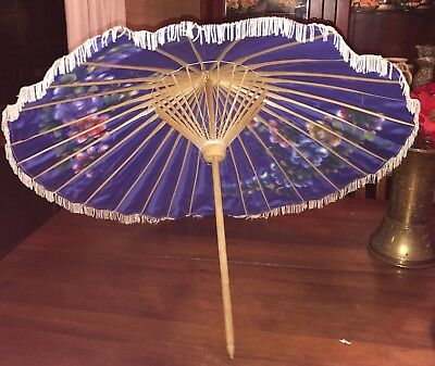 Vintage Retro Classic Fringed Bamboo Umbrella