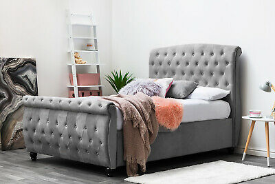 Luxury Grey Velvet Sleigh Chesterfield Bed Lift Storage Ottoman Double King Size