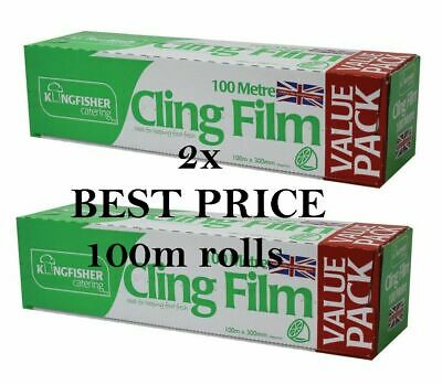 2 x Kitchen Catering Cling Film 300mm Wide x 100m Long Food Wrap Wrapping
