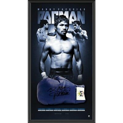 Manny Pacman Pacquiao Hand Signed Framed Boxing Glove Horn Ali Tyson Mayweather