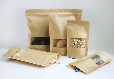 Kraft Paper Bag with Window Stand Pouch Up Zip Lock Resealable Heat Seal Display