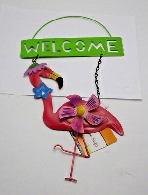 Garden Collection Pink flamingo Green Welcome Sign Daisy whirl spinner Hanger