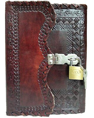 Small Lock And Key Poetry Travel Leather Blank Book Personal Journal Diary