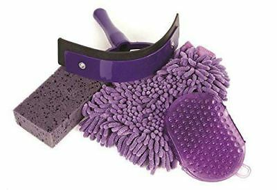 Roma Easy Pack 4 Pieces Horse Wash Kit with Scraper, Sponge, and Mitts