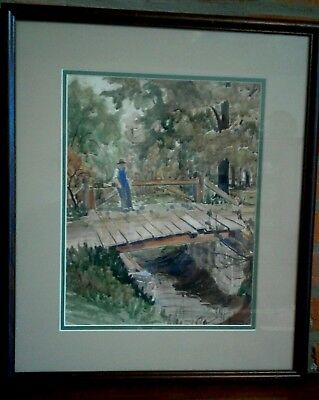 vintage framed signed watercolor painting listed artist Theodore Reamer USA