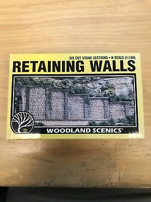 Woodland Scenics Retaining Walls #1159 - N Scale Cut Stone (6 walls) - New