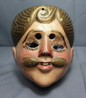 Vintage Hand Carved Tradtional Spainard Dance Mask from Guatemala