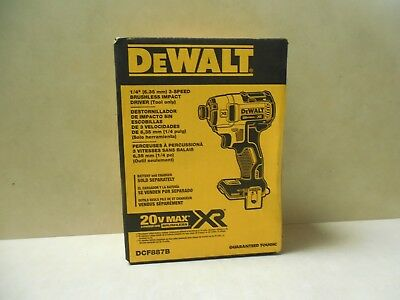 DEWALT DCF887B 20-Volt MAX* XR 1/4-in Brushless 3-Speed Cordless Impact Driver