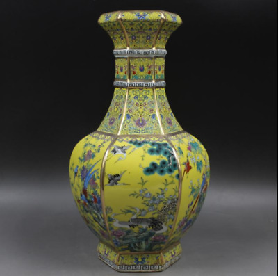 "13""Chinese antiques the Qing dynasty Enamel wonderland Six party vase--yellow"