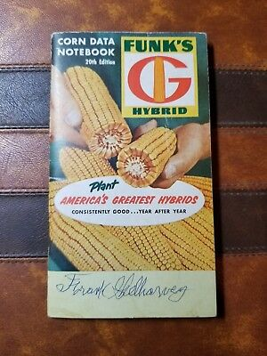VINTAGE 1964 FUNK'S HYBRID SEEDS CORN - CORN DATA BOOK 20th EDITION NOTEBOOK