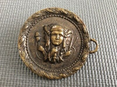 Antique Victorian Button Metal Native Indian Button