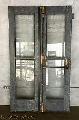 Antique Salvage Industrial Galvanized Doors. Chicken Wire Glass And Brass