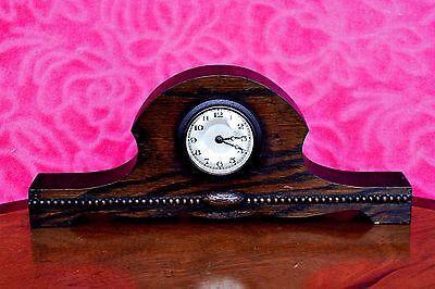 Vintage Small Art Deco Oak Case English Mantel Clock