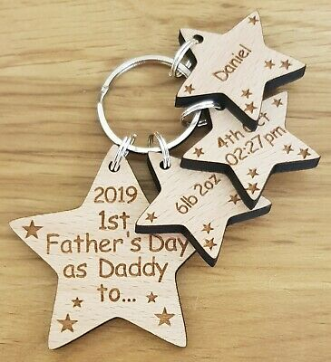 Personalised First 1St Fathers Day Gift Keyring New Daddy Dad Grandad Christmas