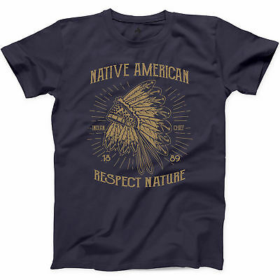 Native American Indian T Shirt Chief Skull Respect Nature Feather Novelty Tee