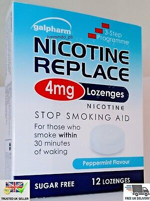 Galpharm Nicotine Replace 4mg Lozenges Stop Smoking Aid Peppermint Flavour UK