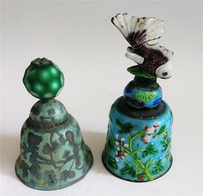 Pair of Antique Chinese Enameled Bells with Peking Glass