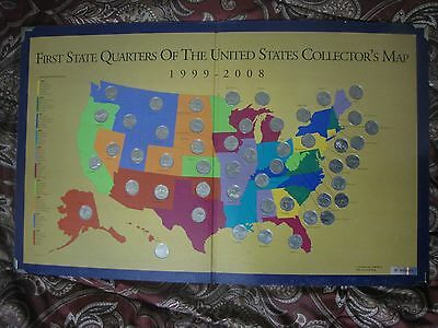 FIRST STATE QUARTERS of the United States Collector\'s Map - $860.00 ...